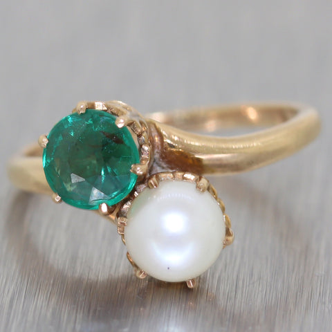 1940's Antique Vintage Estate 10k Yellow Gold 0.50ct Emerald & Pearl Ring