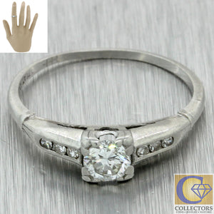 1930s Antique Art Deco Platinum Estate .30ctw Diamond Engagement Ring