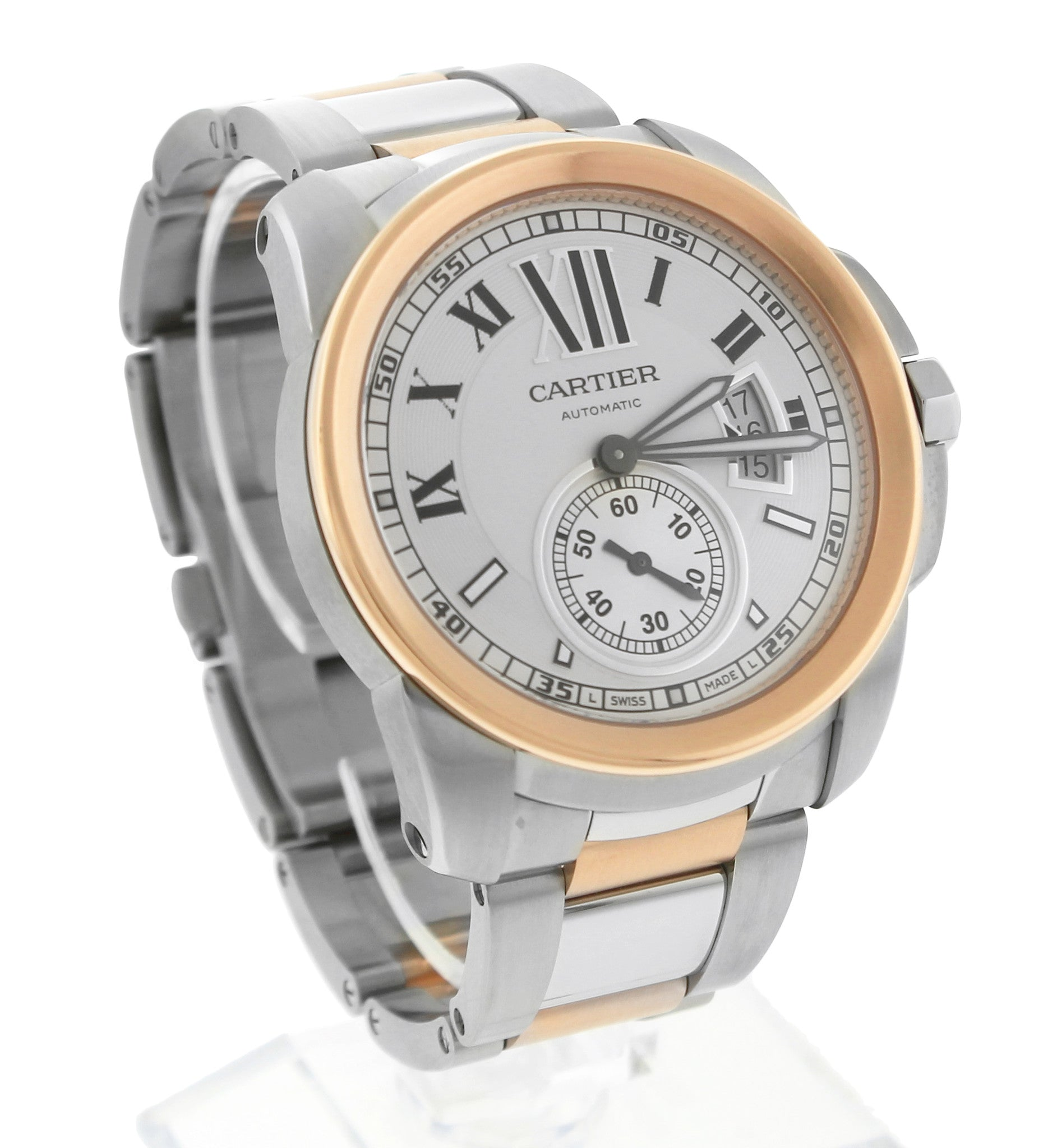 MINT Cartier Calibre W7100036 White Roman 42mm 18K Two Tone Rose Gold Watch 3389