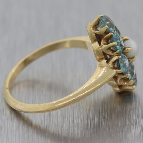 1930's Antique Art Deco 14k Yellow Gold 1.50ctw Blue Zircon & Pearl Ring