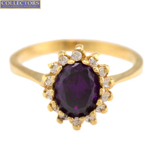 Ladies Vintage Estate 18K Yellow Gold 8x7mm Oval Cut Amethyst Diamond Ring