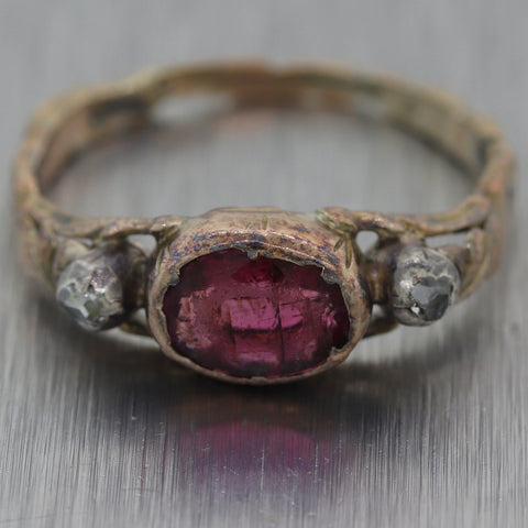 1850's Antique Victorian 10k Yellow Gold Garnet & Rose Cut Diamond Ring