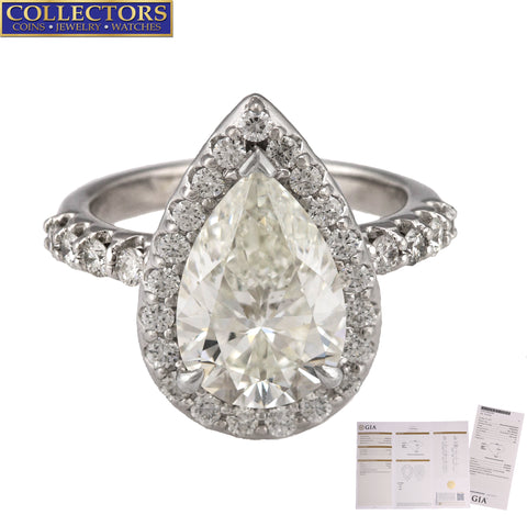 Ladies 14K White Gold 3.04 CT H SI2 Pear Brilliant Diamond Halo Engagement Ring
