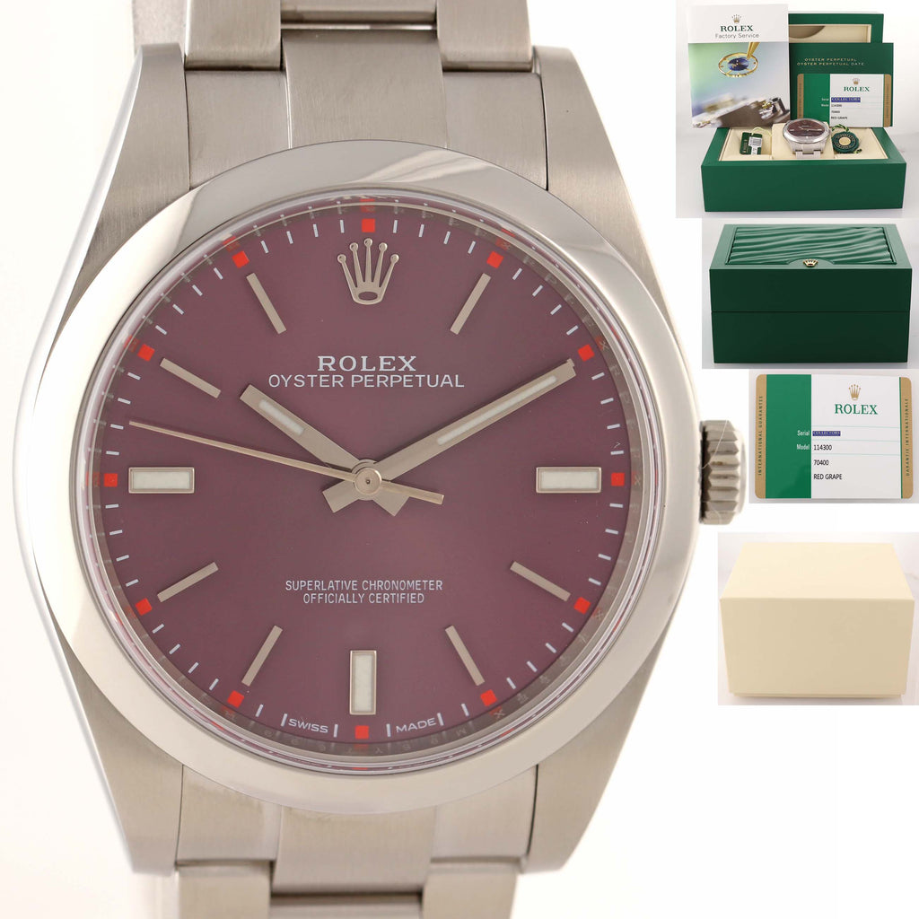 MINT 2016 WARRANTY PAPERS Rolex Oyster Perpetual 39mm Grape Steel 114300 Watch D8