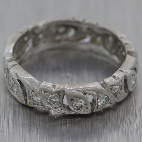 1930's Antique Art Deco Platinum 0.40ctw Diamond Filigree Wedding Band Ring