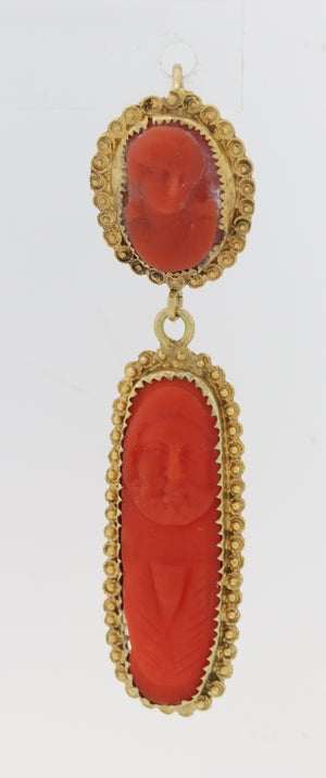 1880s Antique Victorian 14k Yellow Gold Carved Intaglio Coral Hanging Earrings Y8