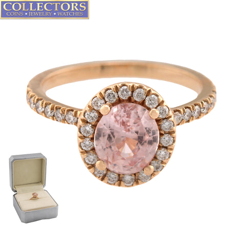 Ladies 14K Rose Gold 1.86ct Oval Cut Pink Sapphire Diamond Halo Engagement Ring