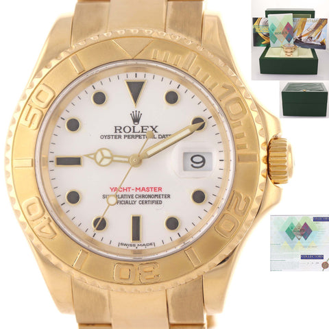 SERVICED Rolex Yacht-Master Solid 18k Yellow Gold White Dial 16628 40mm Date Watch D