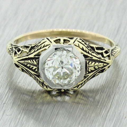 1880s Antique Victorian 14k Gold 1.20ct Solitaire Diamond Engagement Ring EGL