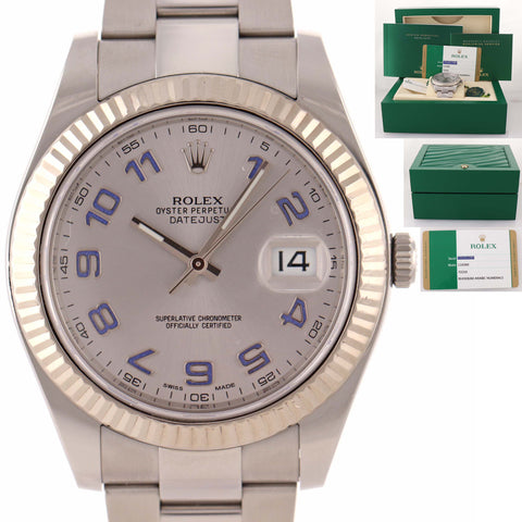 2018 PAPERS Fluted Rolex DateJust 2 18k Gold S/S Silver Arabic 41mm 116300 Watch D8