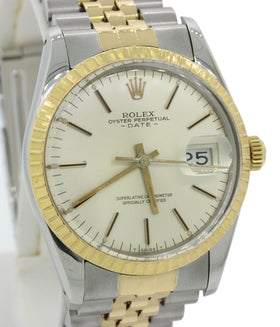 Rolex Oyster Perpetual Date 18k Gold Steel 36mm Engine Turned Bezel Watch 15053 w/Box