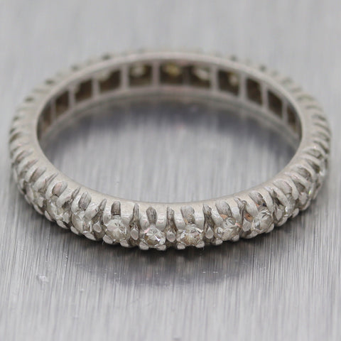 1930's Antique Art Deco Platinum 0.50ctw Diamond Eternity Wedding Band Ring