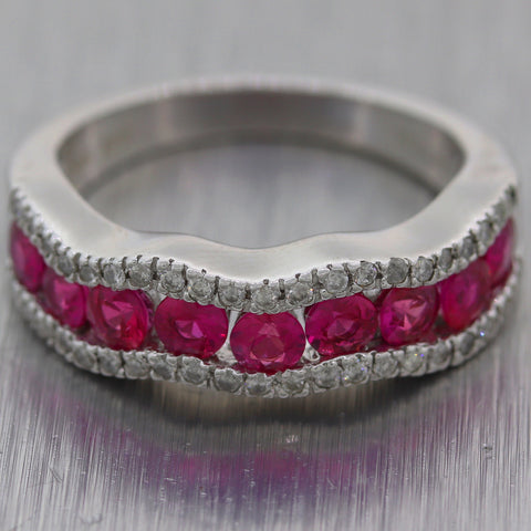 Modern 14k White Gold 1.25 Pink Sapphire & Diamond Band Ring