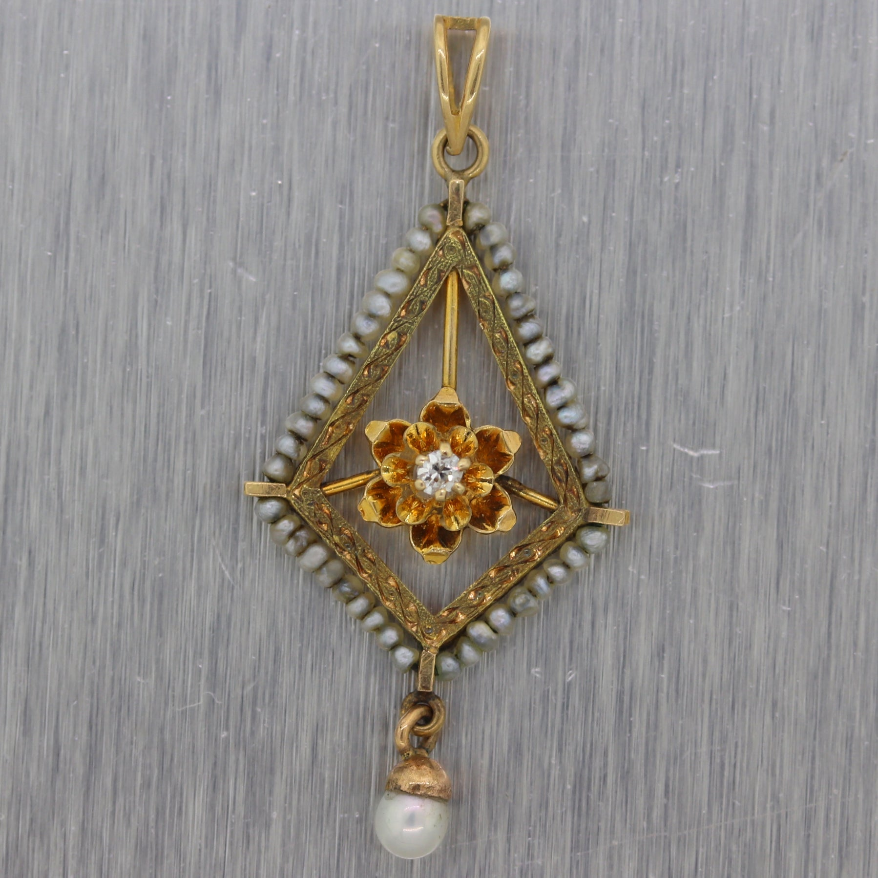 1890's Antique Victorian 14k Yellow Gold Diamond & Seed Pearl Pendant