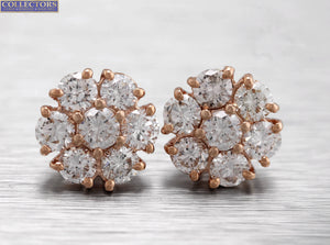 Lovely Ladies Estate 14K Rose Gold 2.41ctw Diamond Cluster Stud Earrings