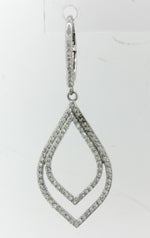 Modern 14k Solid White Gold 2ctw Diamond Cluster Chandelier Earrings