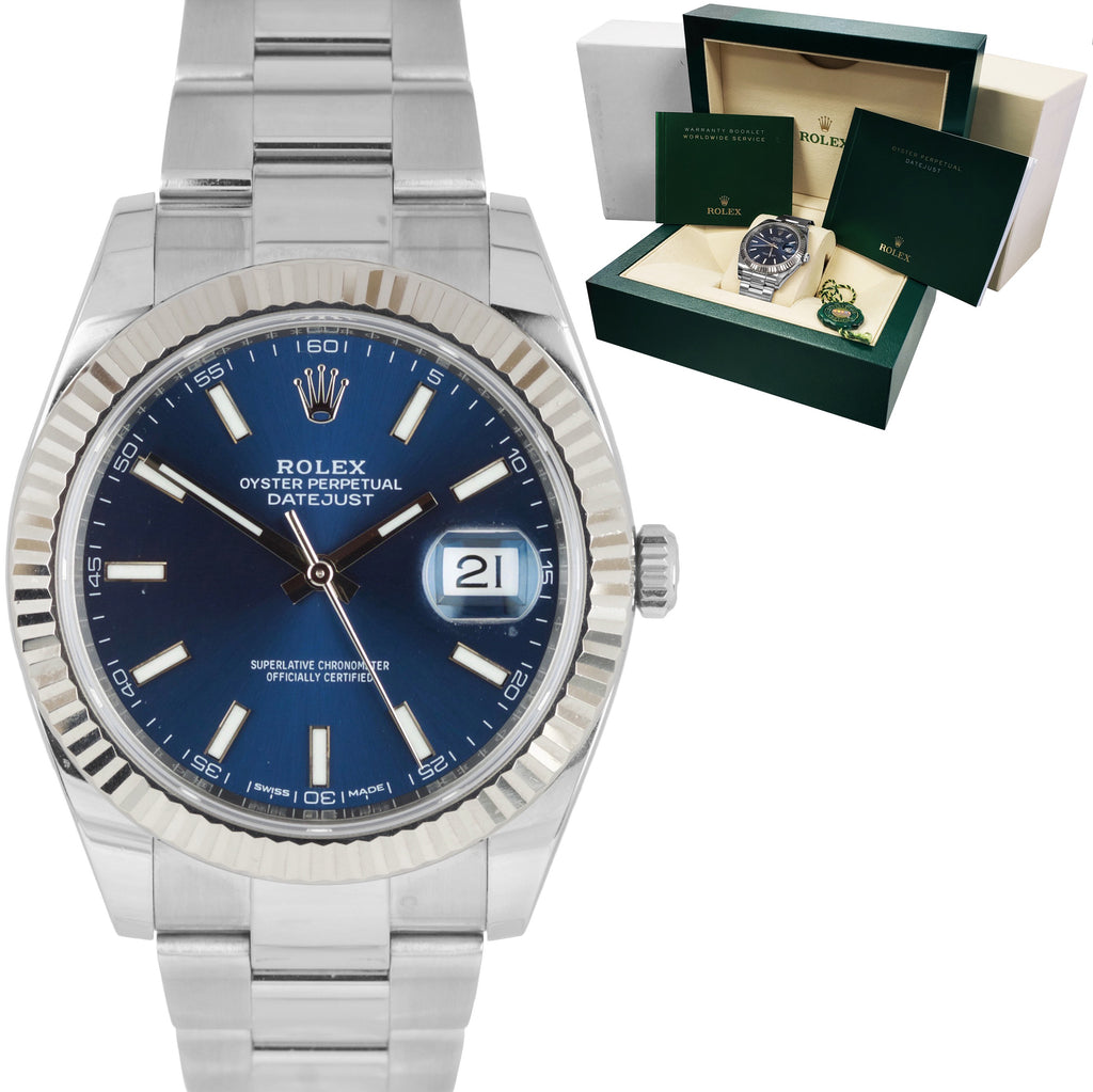 2019 MINT Rolex DateJust 41 Blue Steel Fluted Oyster 41mm Date Watch 126334