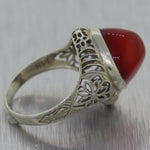 1930's Antique Art Deco 14k White Gold Carnelian Filigree Ring