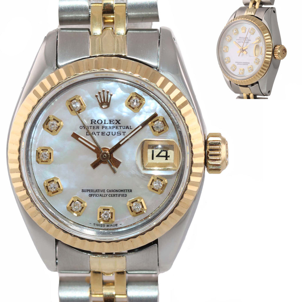 Ladies Rolex 6917 MOP Diamond Two-Tone 18K Gold Steel Jubilee Watch DateJust