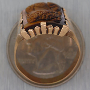 1880's Antique Victorian 14k Yellow Gold Tiger's Eye Cameo Ring