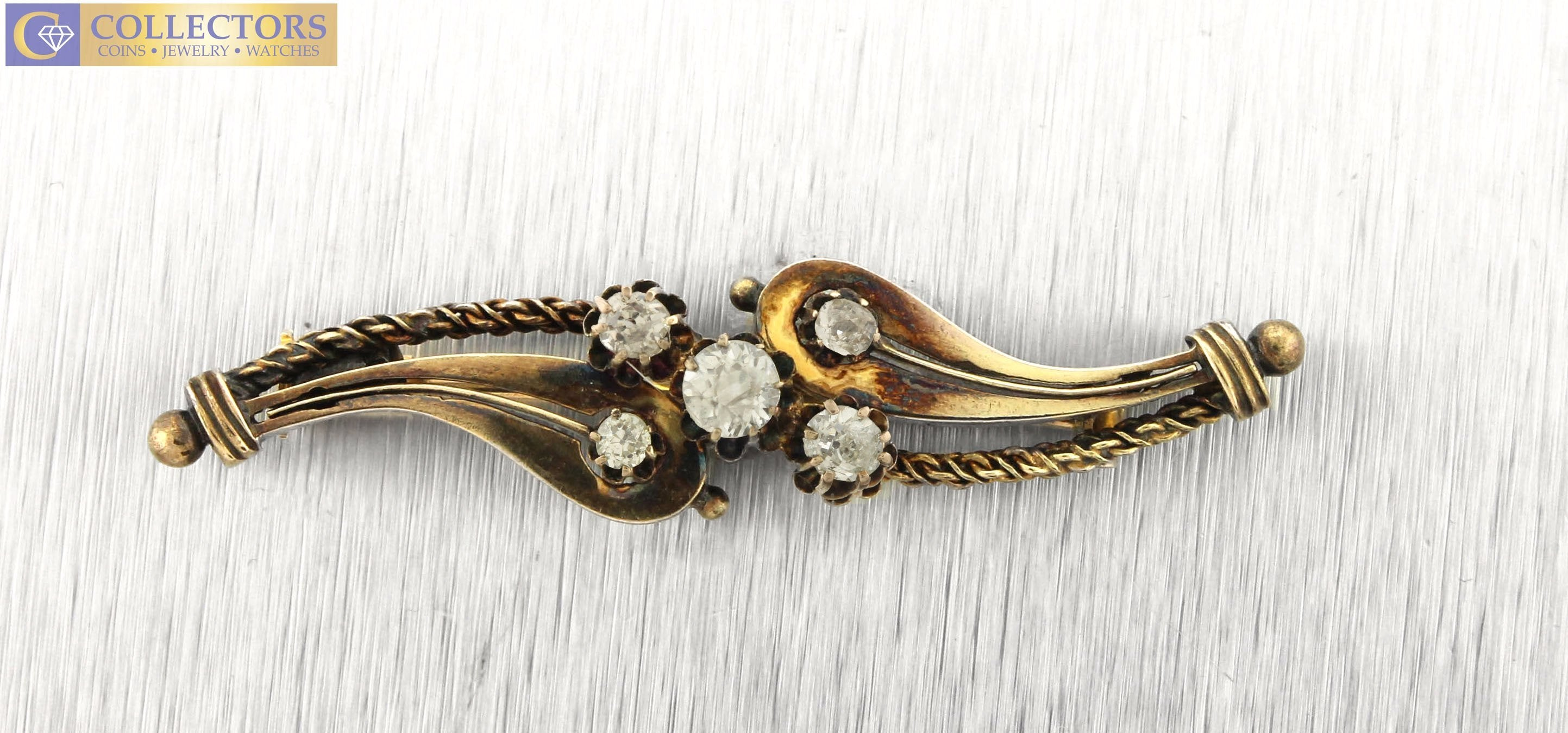 Vintage Estate 18K Yellow Gold 0.50ctw Diamond Pin Brooch