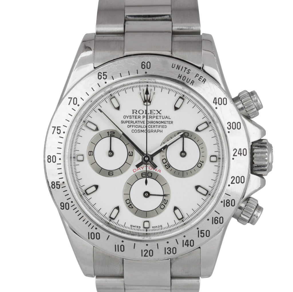 2003 Rolex Daytona Cosmograph 116520 White Stainless Steel 40mm Chrono Watch