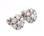 Lovely Ladies Estate 14K White Gold 1.25ctw Diamond Cluster Stud Earrings