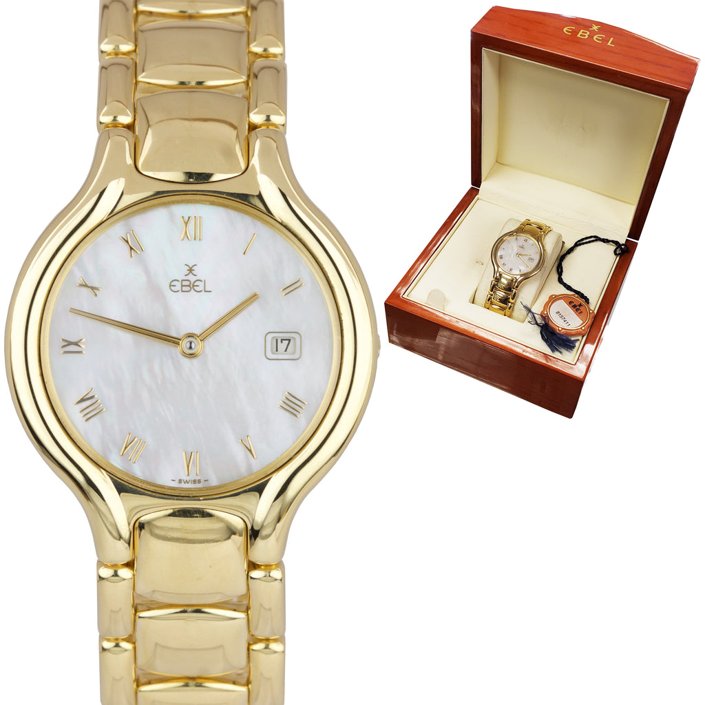 Ladies Ebel Beluga 18K Yellow Gold 31.5mm White MOP Diamond Quartz Watch 884960