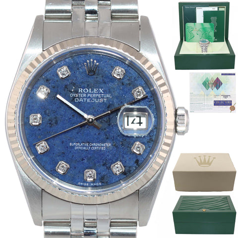 PAPERS 2005 Rolex DateJust 36mm 16234 Steel Blue Sodalite 18k Gold Watch Box