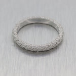 Vintage Estate Platinum Engraved Wedding Band Ring