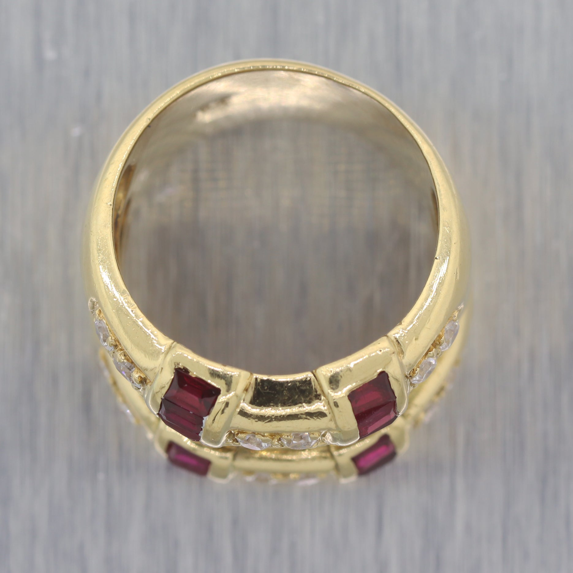 Vintage Estate 18k Yellow Gold 1.74ctw Sapphire Diamond Ruby Wedding Band Ring
