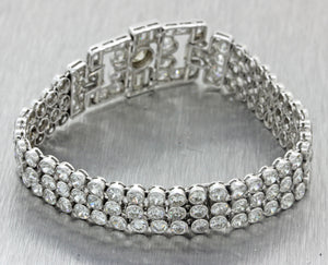 1920s Antique Art Deco Platinum 20.00ct Diamond 3 Row Wide Bezel Link Bracelet J8