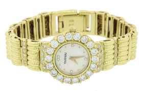 MINT Ladies Tourneau 18k Yellow Gold 3.00ctw Diamond MOP Quartz 24mm Dress Watch