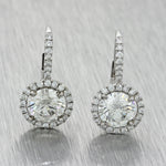Women's Estate 18k White Gold 19mm 3.02ctw Diamond Halo Drop Leverback Earrings J8