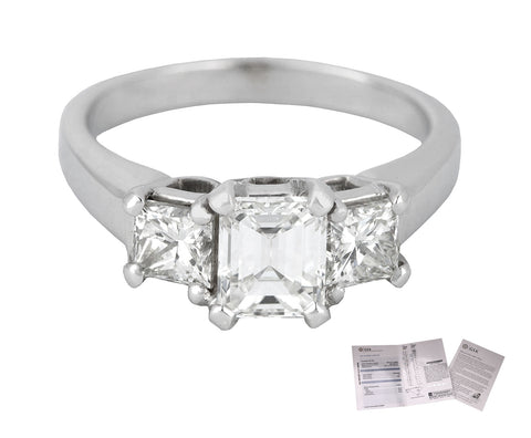 Modern 14K White Gold 0.78CT Emerald Cut Three Stone Diamond Engagement Ring GIA