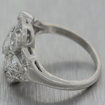 1930's Antique Art Deco Platinum 1ctw Diamond Cocktail Ring