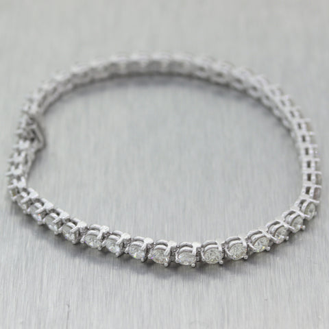 Modern 14k White Gold 5.58ctw Diamond Tennis Bracelet