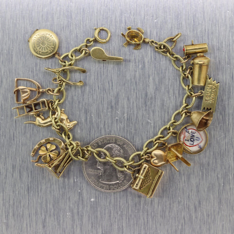 1930's Antique Vintage Estate 14k Yellow Gold Charm Bracelet