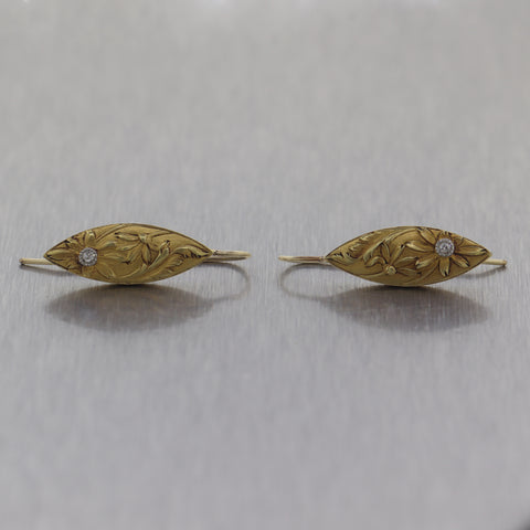 1910 Antique Art Nouveau 14k Yellow Gold Diamond Flower Dangle Earrings