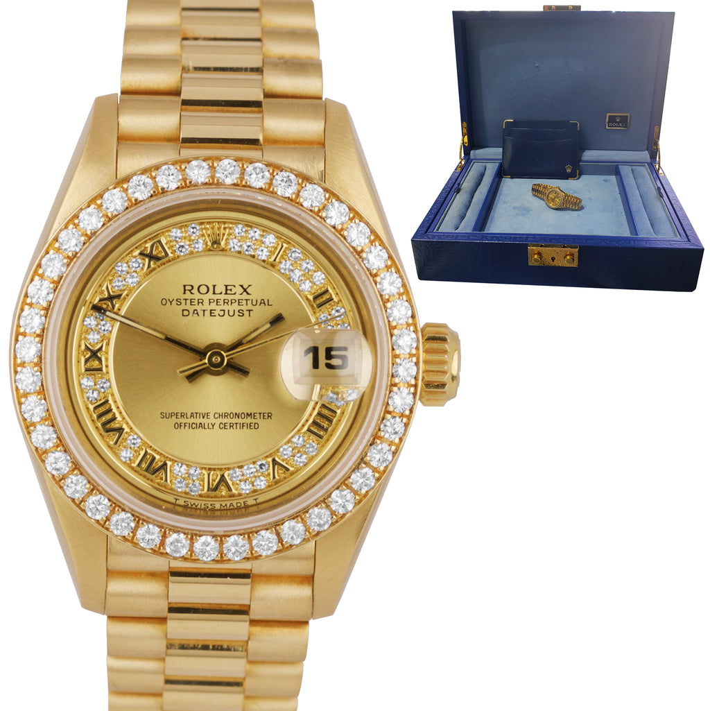 Rolex DateJust President 'Crown Collection' 26mm Diamond Yellow Gold Watch 69138