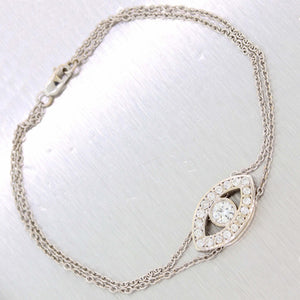 Modern Solid 14k White Gold .80ctw Diamond Evil Eye Chain Link Bracelet D8