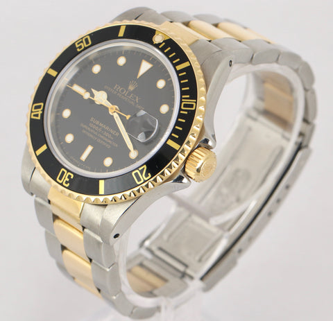 Vintage 1984 Rolex Submariner 16803 Two-Tone 18K Gold Stainless Black 40mm Dive