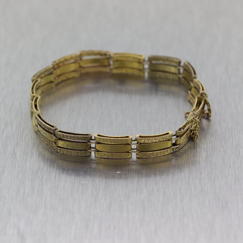 1890's Antique Victorian 14k Yellow Gold Etruscan Greek Key Bracelet