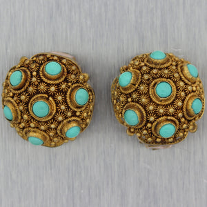 1930's Antique Chinese Silver 1.50ctw Turquoise Clip-on Earrings