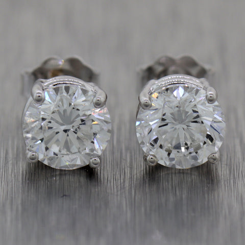 GIA Round Brilliant 2.95ctw E/I1 Diamond 14k White Gold Stud Earrings