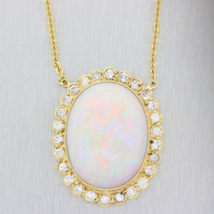 Vintage 14k Yellow Gold 1.00ctw Diamond Large Fire Opal Pendant Necklace D8