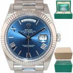2019 Rolex Day Date 40 18k White Gold President Blue Roman 228239 Watch Box