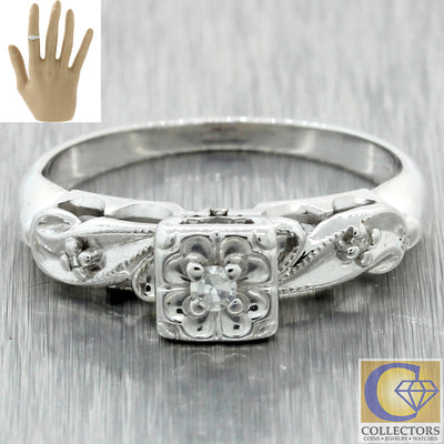 Vintage Estate 14k Solid White Gold .05ctw Diamond Cocktail Ring