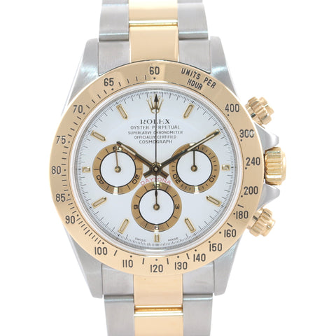 MINT Rolex Daytona 16523 Zenith Two Tone 18 Yellow Gold White Dial SEL Bracelet