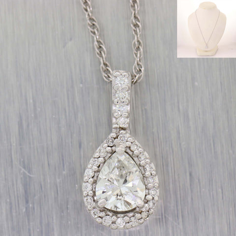 Modern Solid 14k White Gold .92ctw Diamond Halo Pear Shape Pendant Necklace D8